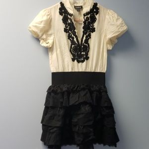 Bebe Dress Ivory and Black size small